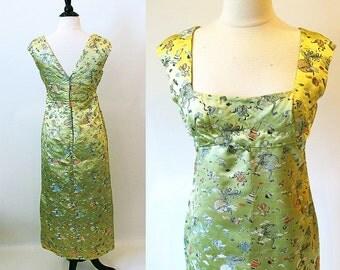 Vintage 60s Empire Waist Dress, Long  Chartruese Chinese Print Satin Brocade Fancy Sheath Style Princess Dress