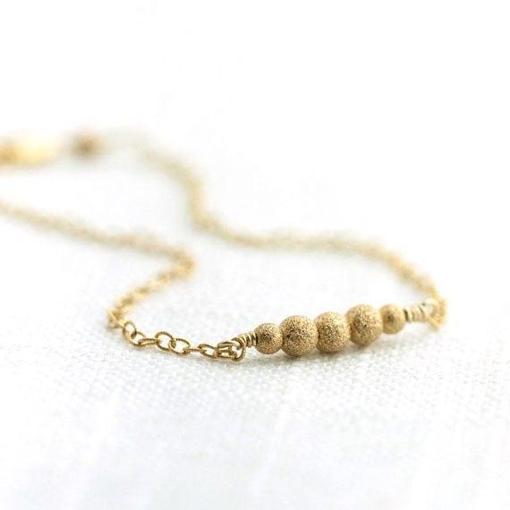 Gold Stardust Bracelet / Dainty Sparkly Tiny Gold Filled Bracelet