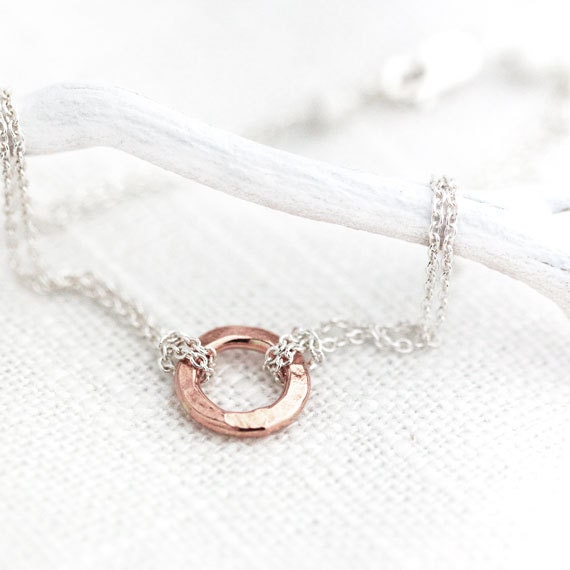 RESERVED FOR KELLY - Eternity Rose Gold Bracelet / Small Hammered Circle Bracelet on Double Strand Sterling Silver Chain