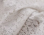 "59.00"" White Cotton Embroidery Lace Fabric Floral Soft Eyelet Lace Trim By the Yard"