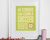 Digital Art Print Teacher Gift All Students Apple Typography Best Teacher Poster Apple Green Gift Poster