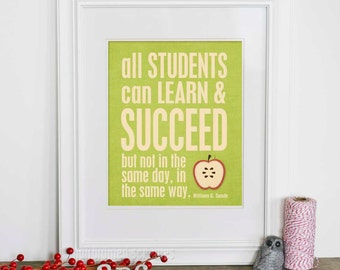 Digital Art Print Teacher Gift All Students Apple Typography Best Teacher Poster Apple Green Gift Poster