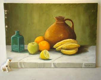 Price Reduced...Vintage Antique Large still life painting with fruit, blue glass bottle, jug