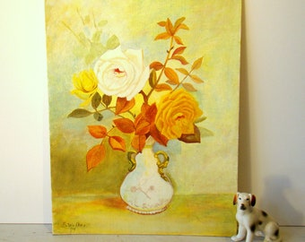 beautiful original art, vintage 70s still life painting flowers roses