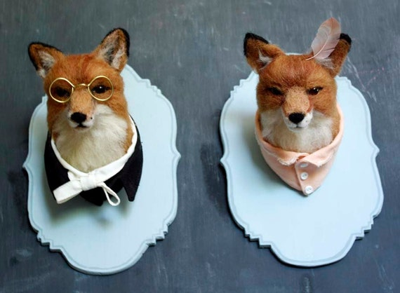 Two Needle Felted Fox Taxidermy-- Reserved for Holly