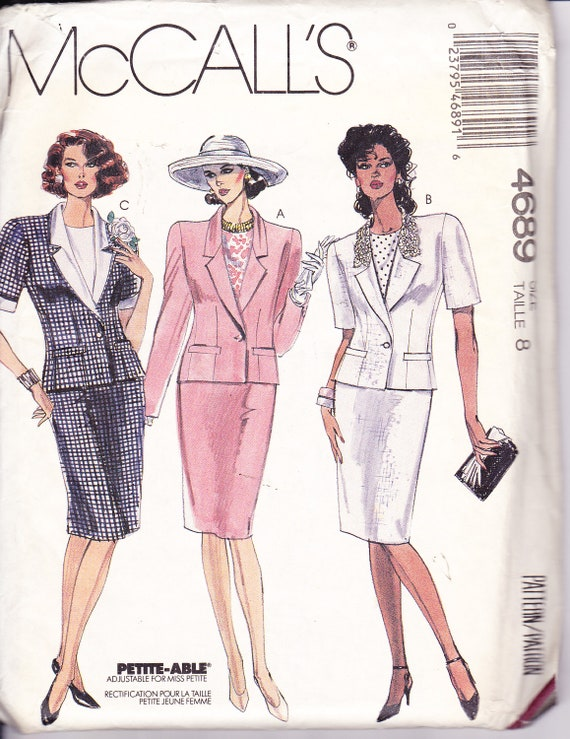 """Women's Sewing Pattern Lined Blazer Jacket Blouse and Skirt McCall's 4689 Bust 31.5"""""""