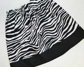 Tween, girl, toddler, baby animal print  zebra fabric skirt with jet black border sizes NB 3m 6m 12m 18m 24m 2T 3T 4T 5T 6 7 8 10 12 14 16