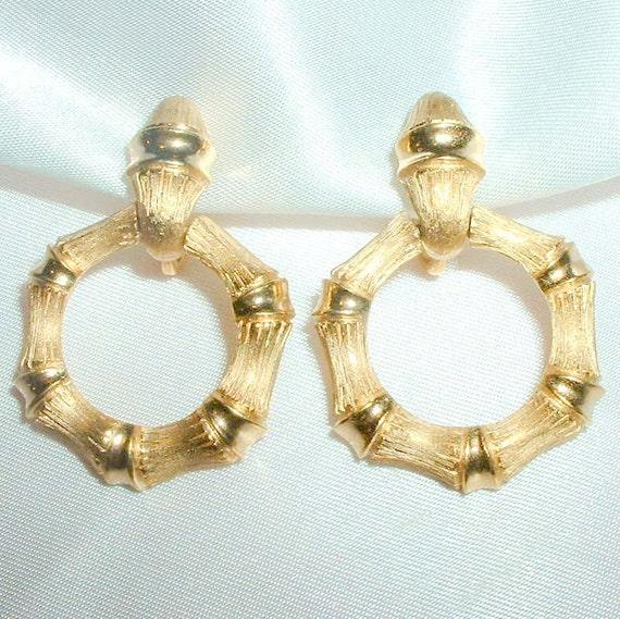 Vintage Avon Bamboo Door Knocker Earrings