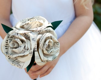 Paper Rose Nosegay Bridesmaid Bouquet 3 Flowers