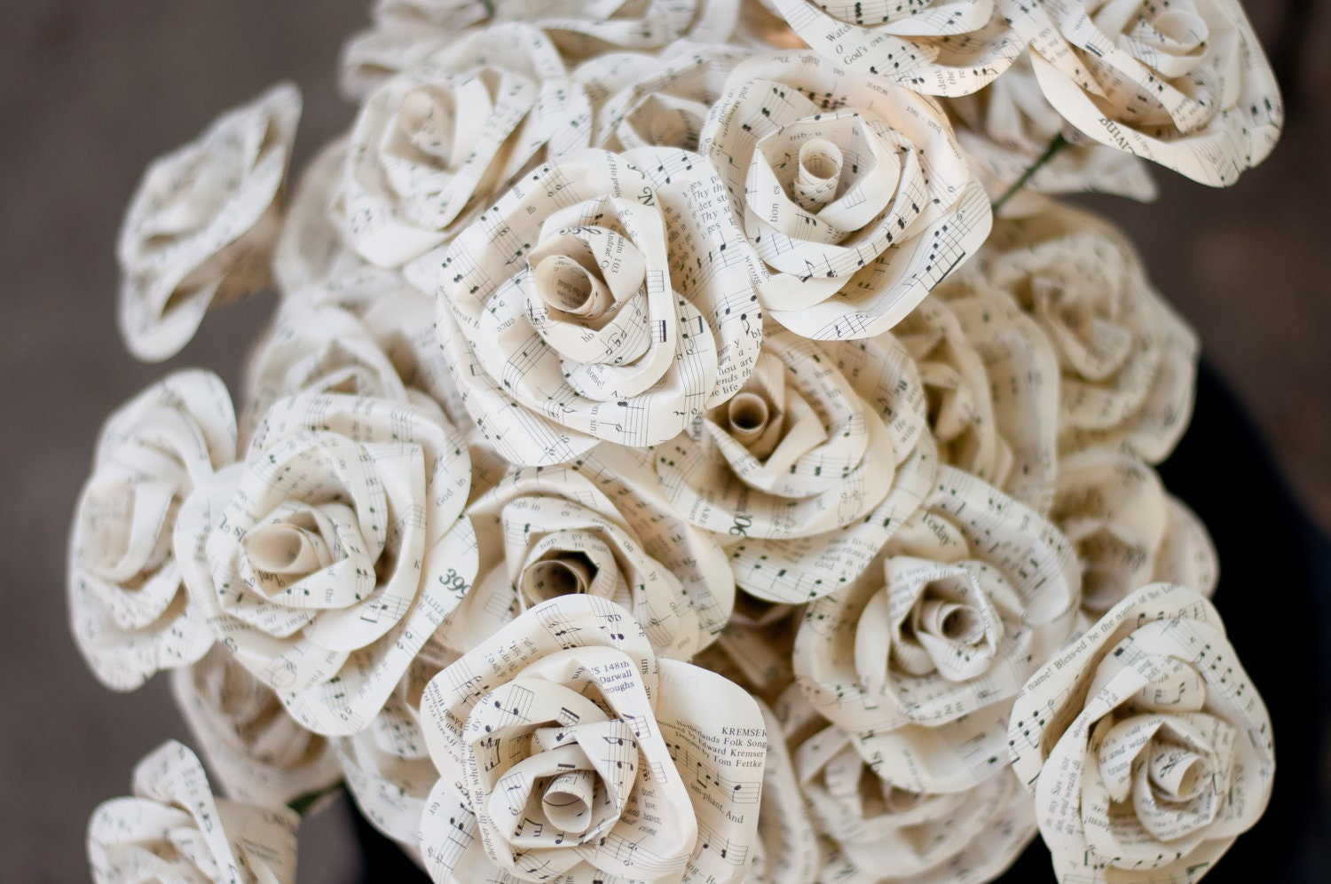 Two dozen hymnal sheet music paper roses for Paper roses sheet music free