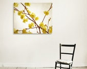 """Yellow Blossoms on Branch 16""""x20"""" Canvas Gallery Wrap,  ready to hang, bright, cream, brown, autumn"""