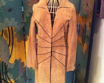 Beautiful Camel Color Genuine Suede Jacket Maxi Length