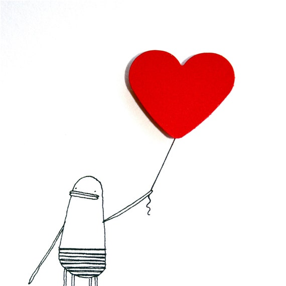 Love Greeting Card, I Love You, Hand-finished, Quirky Illustration of Poosac with Red Love Heart Balloon