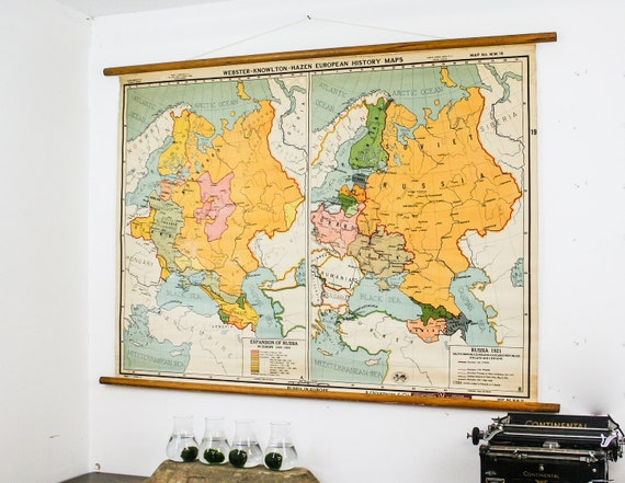 Vintage European Map Vintage Pull Down Map