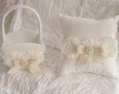 Wedding Ring Pillow and Flower Girl Basket Set Shabby Chic Vintage Ivory and Cream Custom Colors too