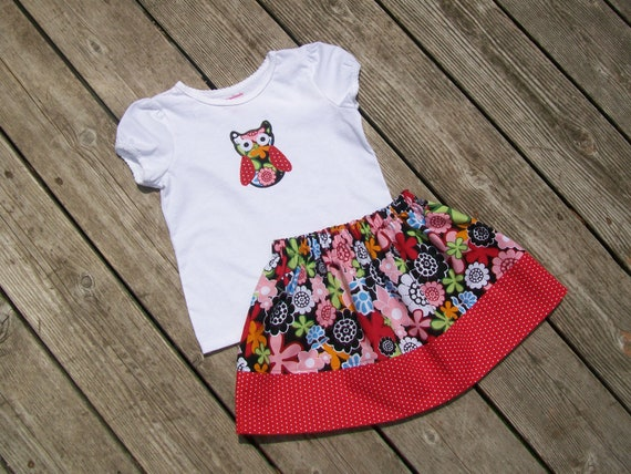 Girl's Toddlers Skirt and Shirt Outfit - Bright Modern Floral With Owl Applique Shirt