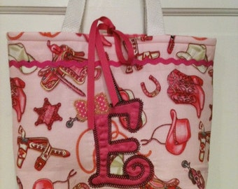 Pink Cowgirl country and western  tote bag with initial