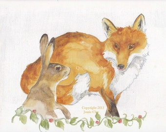 Fox and Hare Meet print of my original