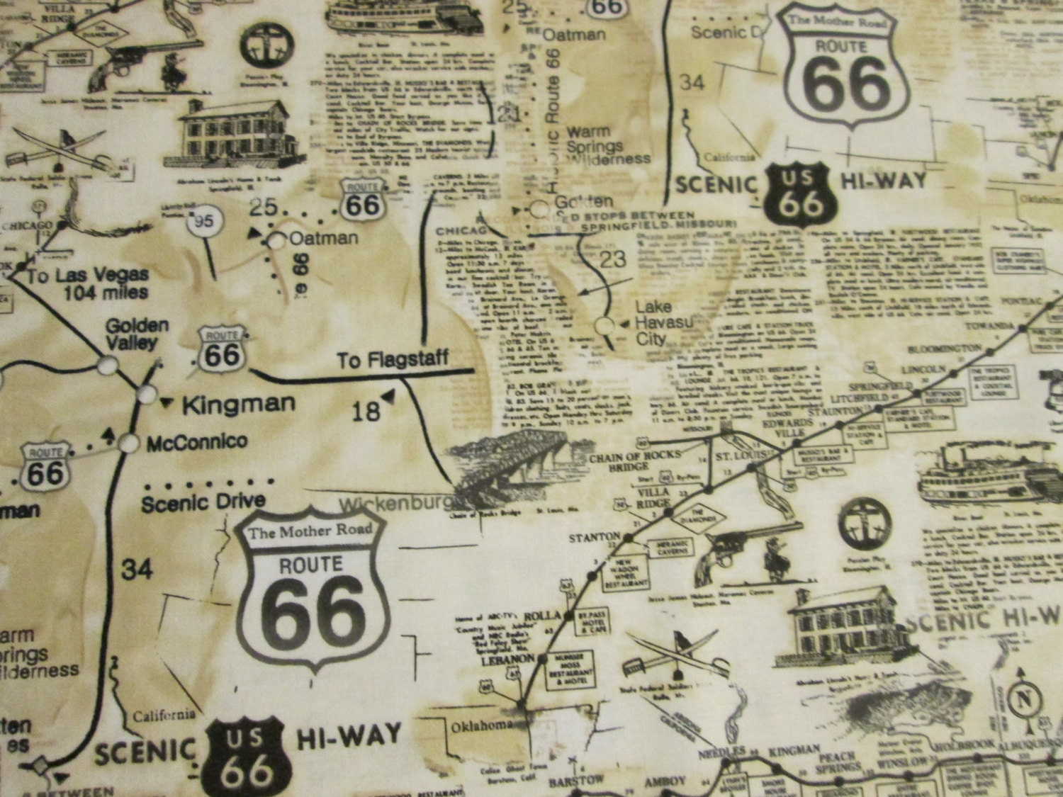 Route 66 map historical sites tan cotton fabric fat by for Fabric sites