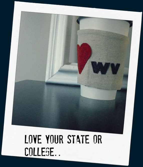 Keepin' it cozy Love for your State or college  reversible coffee cup cozy in dark navy and cream chevron