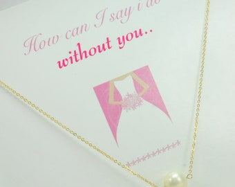 Simple Single Pearl Necklace, Bridesmaid Jewelry, Gift with Card, Thank You Gifts, Bridesmaid Thank You Gifts