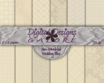 Wedding Bliss (Non-Wrinkled) Digital Paper Pack Set of 12 - Commercial and Personal Use - Digital Designs Galore