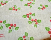 SALE - Linen Cotton Blended Fabric -  strawberry (red) - Fat Quarter(21in x 19in) - LF070
