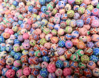 500 8mm Fimo Polymer Clay Round Beads Variety Assorted Colors Flowers, Print  etc