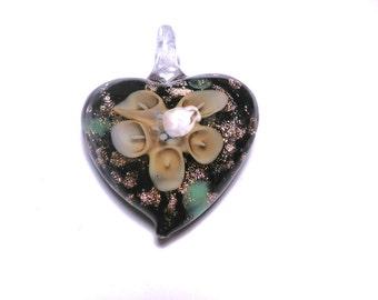 New Large Heart flower Glass Pendant 35mm