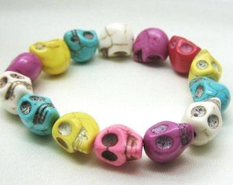 New Handmade Rainbow Pink White Purple Yellow Skull Bracelet