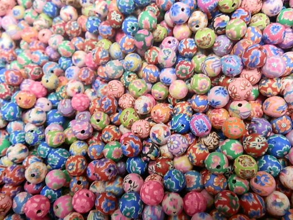 Clearance 100 8mm Fimo Polymer Clay Round Beads Variety Assorted Colors Flowers, Print  etc