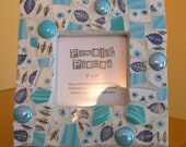 Blue Broken China Mosaic Picture Frame-  Pique Assiette Mosaic