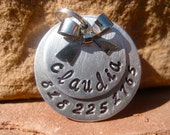 The Claudia (#083) - Unique Handstamped Pet ID Tag Layered 2 Disc Bow Dogs Monochromatic