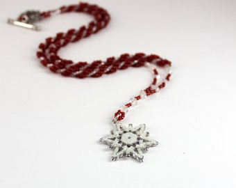 Snowflake Necklace - Red Necklace - Beadwork Jewelry - Rope Necklace - Seed Bead Jewelry - Beaded Necklace