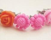 Tiny Rose Earrings Resin Earrings Rose Earrings Cabochon Flower Earrings Pink Orange Flowers Wedding Jewelry