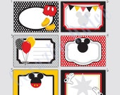 INSTANT DOWNLOAD Mickey-Inspired Printable Cards/tags, book labels, stickers, kids cards, gift tags, labeling, scrapbooking, etc.....