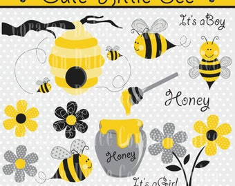 INSTANT DOWNLOAD Little Bee Digital Clip Art Set - Personal and Commercial Use Clip Art
