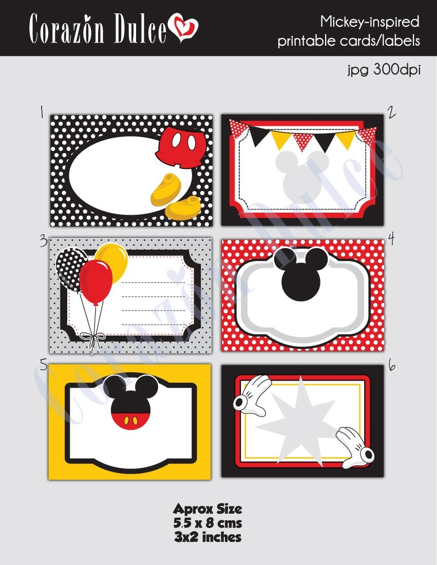 INSTANT DOWNLOAD Mickey Inspired Printable by corazondulce on Etsy