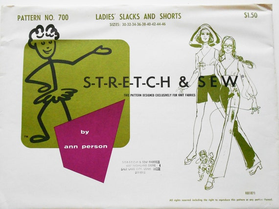 Stretch and Sew Sewing Pattern 700 Ladies' Slacks and Shorts
