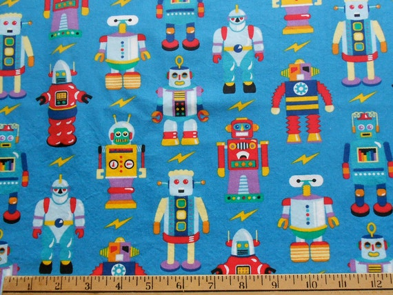 Retro robots fabric by olive kids for Robot quilt fabric