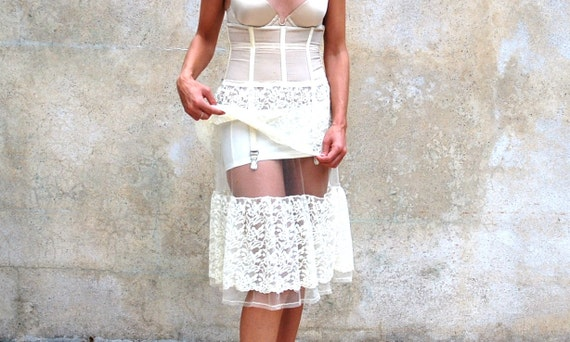 Reserved for Nicky 1930s rare French style pinup ivory corset/ garter/slip - 30s feminine antique lace and tulle lingerie - small / medium