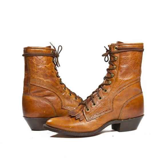 Vintage CAPEZIO Lacer Boots / Western Granny Boots with Kilties in Honey Brown Leather / DEADSTOCK for Women's size 6