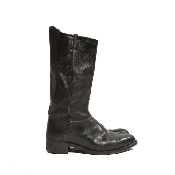 RESERVED / Men's Vintage Motorcycle Boots Wellington Riding Boots Black Leather for a Size 8 1/2