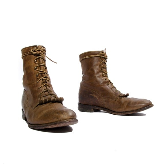 Vintage Justin Western Roper Boots in Rugged Brown for Men's Size 10 EE (Wide)