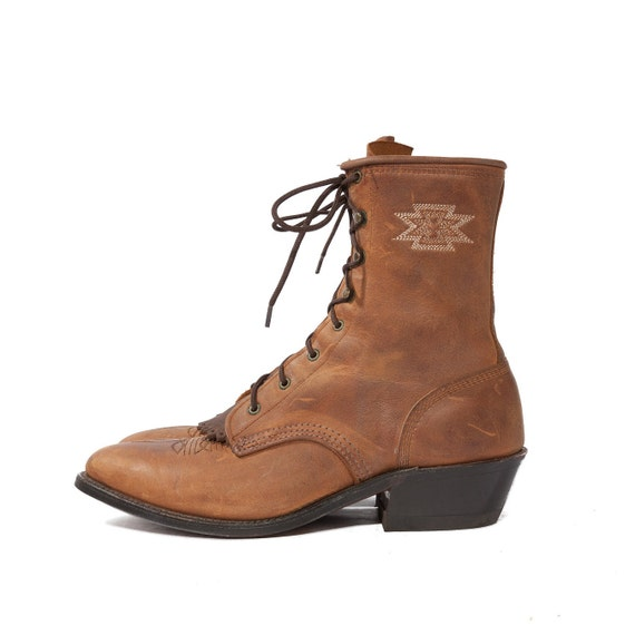 Vintage Boots Aztec Lacers in Mocha Brown with Kilties and Southwestern Stitch for size 8 1/2