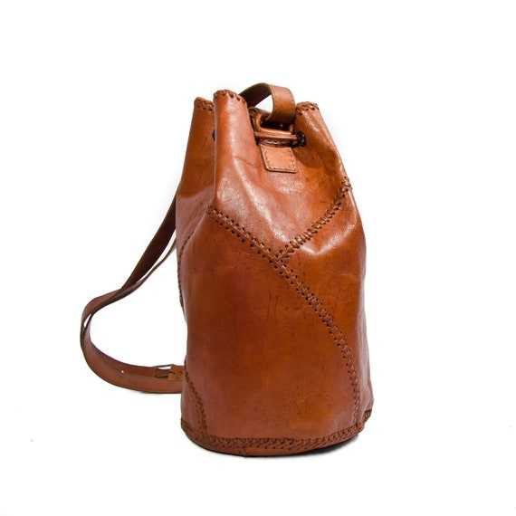 Vintage Patchwork Leather Drawstring Bucket Bag Convertible