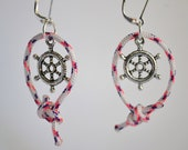 Nautical Jewelry Earrings Sailing Knot with Captains Ship Wheel