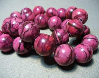 Web Jasper Beads Gemstone Raspberry  Round 14-15mm