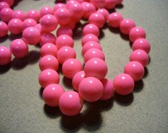 Glass Beads Bright Pink  Round 10MM