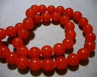 Jade Glass Beads Cherry Red  Round 10MM